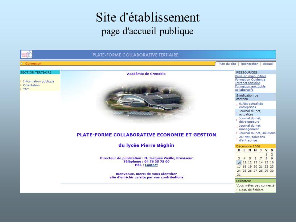 Site d'établissement page d'accueil publique
