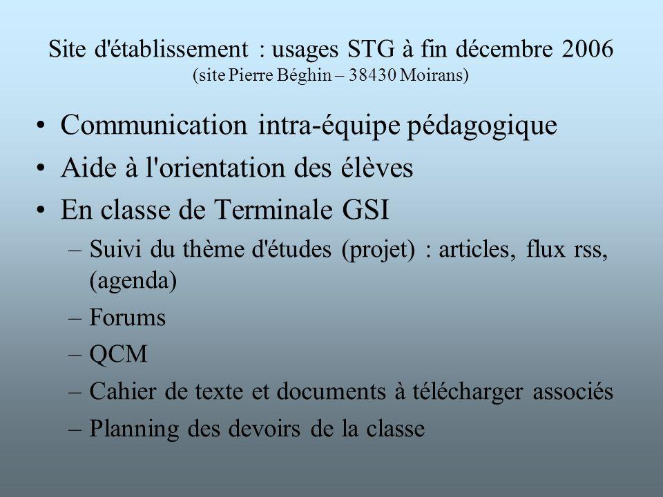 Site d'établissement : usages STG à fin décembre 2006 (site Pierre Béghin – 38430 Moirans) Communication intra-équipe pédagogique Aide à l'orientation