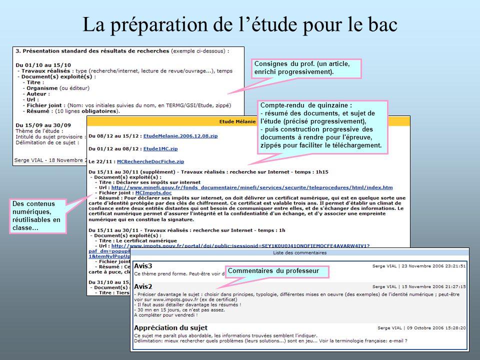 La préparation de létude pour le bac Consignes du prof. (un article, enrichi progressivement). Compte-rendu de quinzaine : - résumé des documents, et