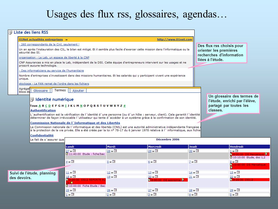 Usages des flux rss, glossaires, agendas… Des flux rss choisis pour orienter les premières recherches d'information liées à l'étude. Un glossaire des