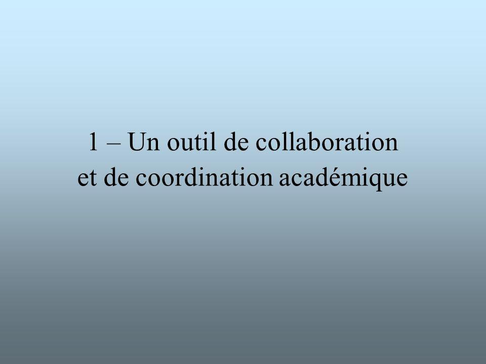 1 – Un outil de collaboration et de coordination académique