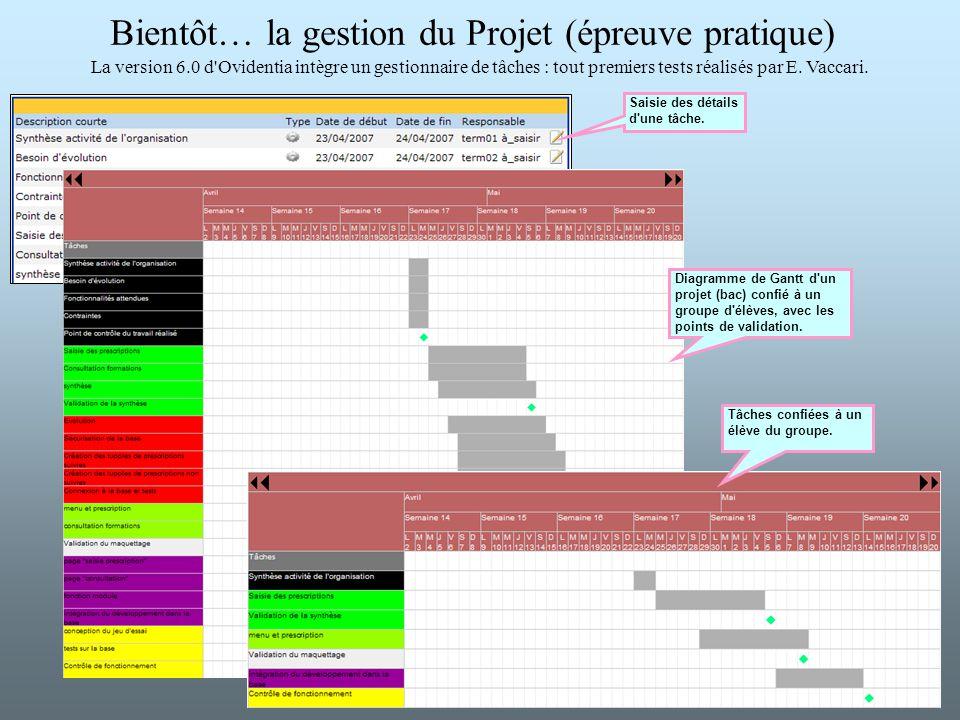 Bientôt… la gestion du Projet (épreuve pratique) La version 6.0 d'Ovidentia intègre un gestionnaire de tâches : tout premiers tests réalisés par E. Va