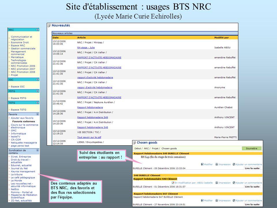 Site d'établissement : usages BTS NRC (Lycée Marie Curie Echirolles) Des contenus adaptés au BTS NRC, des favoris et des flux rss sélectionnés par l'é