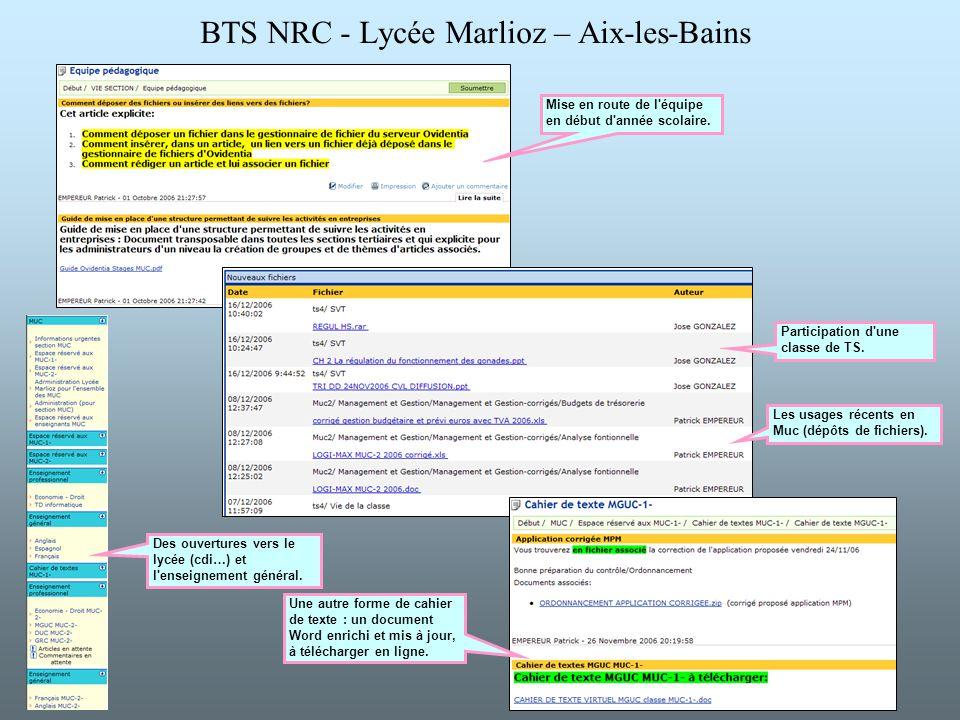 BTS NRC - Lycée Marlioz – Aix-les-Bains Une autre forme de cahier de texte : un document Word enrichi et mis à jour, à télécharger en ligne. Mise en r