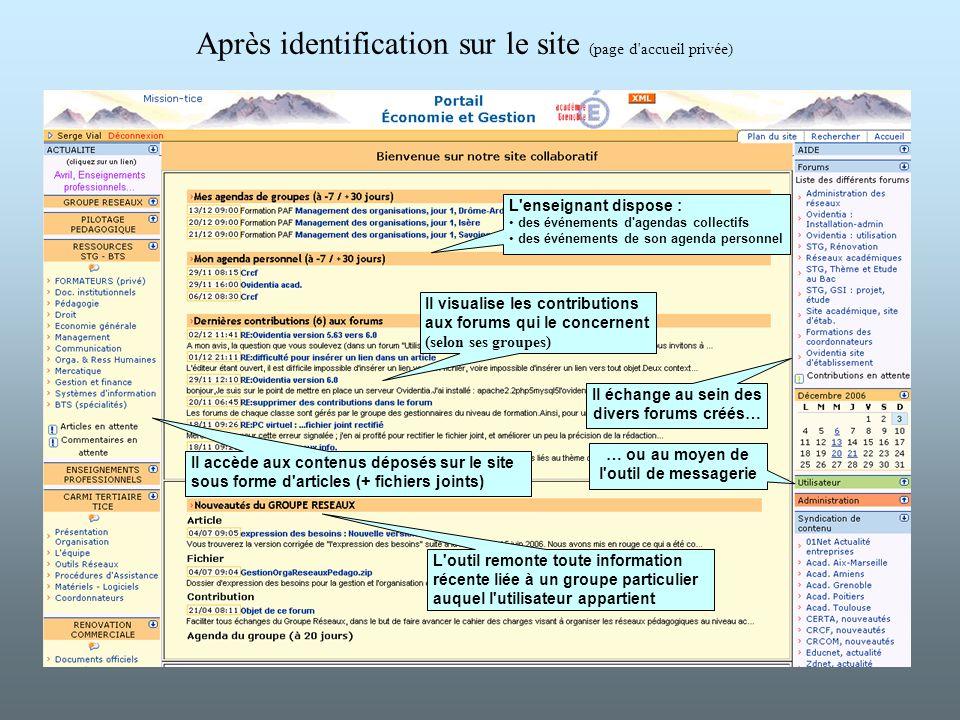 Après identification sur le site (page d'accueil privée) Il échange au sein des divers forums créés… L'enseignant dispose : des événements d'agendas c