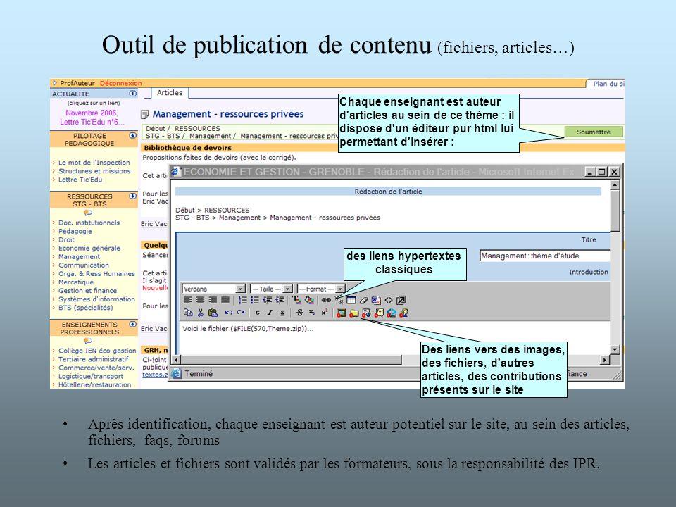 Outil de publication de contenu (fichiers, articles…) Après identification, chaque enseignant est auteur potentiel sur le site, au sein des articles,