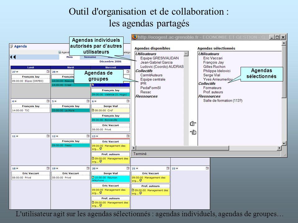 L'utilisateur agit sur les agendas sélectionnés : agendas individuels, agendas de groupes… Outil d'organisation et de collaboration : les agendas part