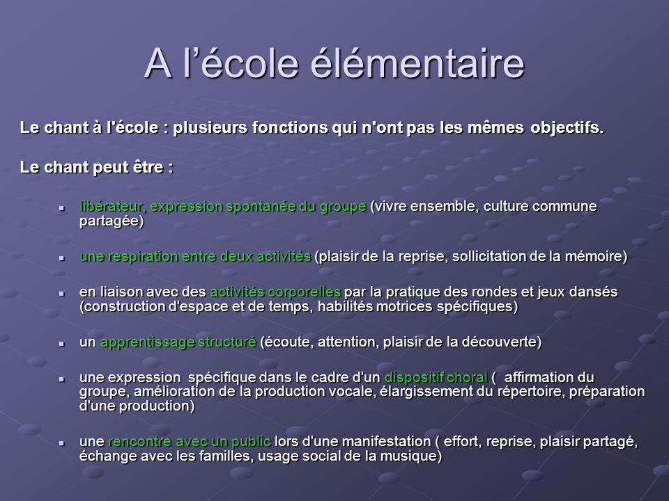 A lécole élémentaire Le chant à l'école : plusieurs fonctions qui n'ont pas les mêmes objectifs. Le chant peut être : libérateur, expression spontanée
