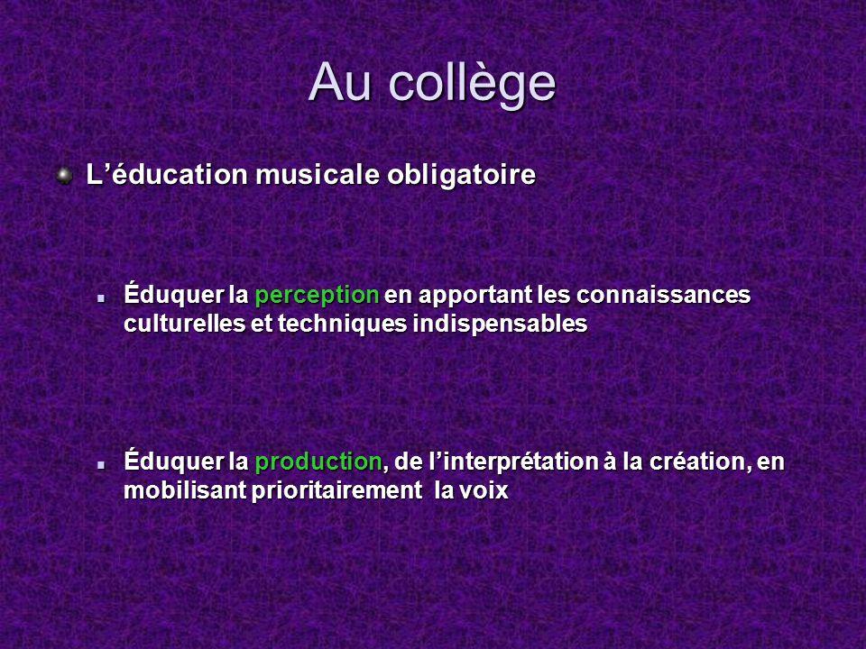 Au collège Léducation musicale obligatoire Éduquer la perception en apportant les connaissances culturelles et techniques indispensables Éduquer la pe