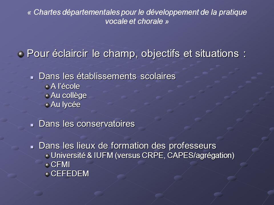 « Chartes départementales pour le développement de la pratique vocale et chorale » Pour éclaircir le champ, objectifs et situations : Dans les établis