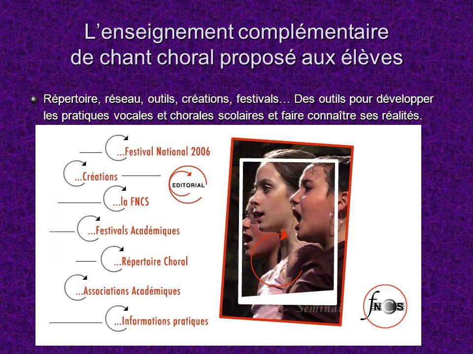 Lenseignement complémentaire de chant choral proposé aux élèves Répertoire, réseau, outils, créations, festivals… Des outils pour développer les prati