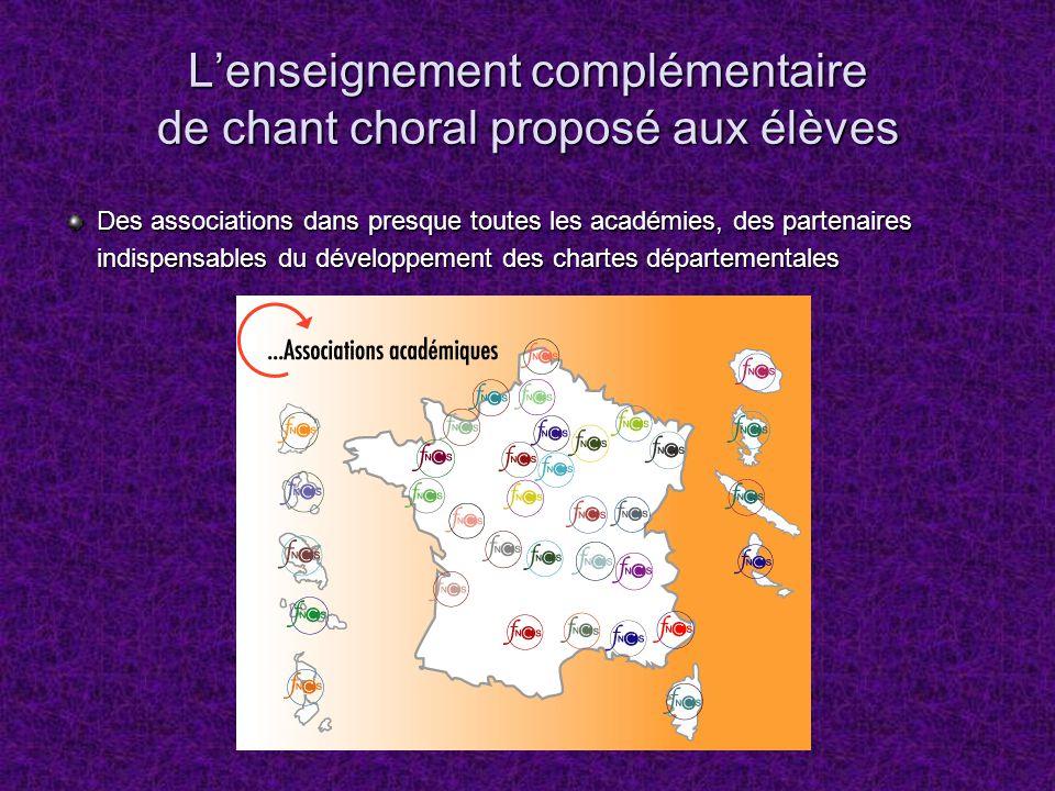 Lenseignement complémentaire de chant choral proposé aux élèves Des associations dans presque toutes les académies, des partenaires indispensables du