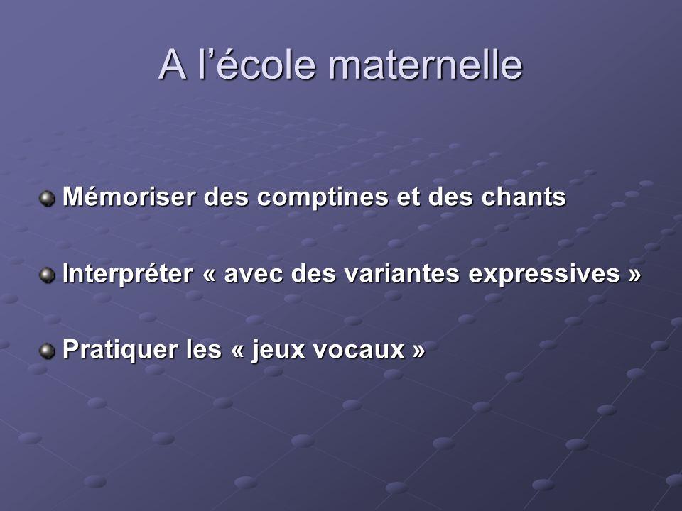 A lécole maternelle Mémoriser des comptines et des chants Interpréter « avec des variantes expressives » Pratiquer les « jeux vocaux »