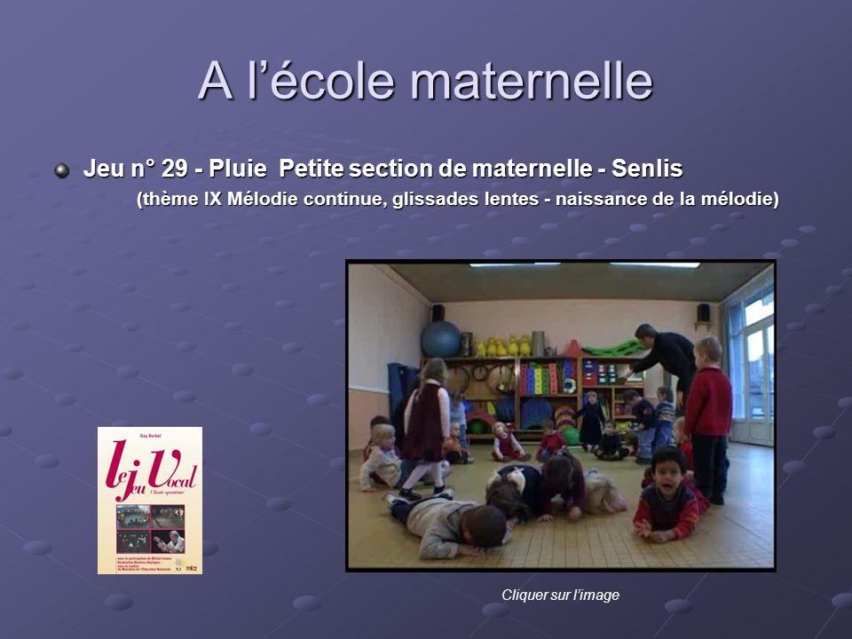 A lécole maternelle Jeu n° 29 - Pluie Petite section de maternelle - Senlis (thème IX Mélodie continue, glissades lentes - naissance de la mélodie) Cl