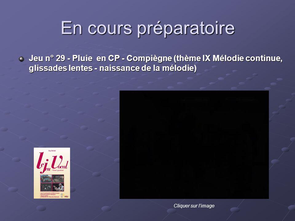 En cours préparatoire Jeu n° 29 - Pluie en CP - Compiègne (thème IX Mélodie continue, glissades lentes - naissance de la mélodie) Cliquer sur limage