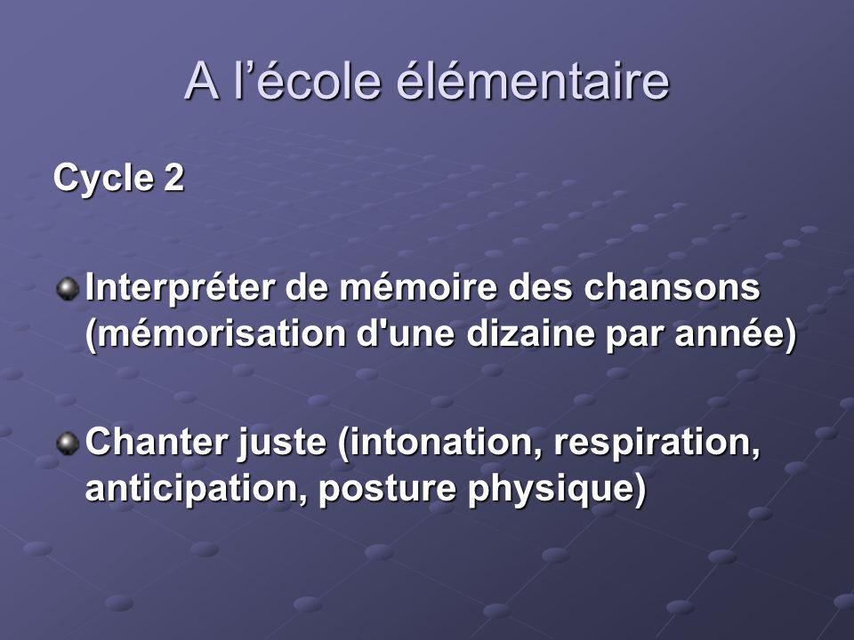 A lécole élémentaire Cycle 2 Interpréter de mémoire des chansons (mémorisation d'une dizaine par année) Chanter juste (intonation, respiration, antici