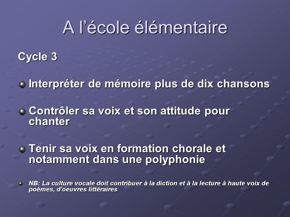A lécole élémentaire Cycle 3 Interpréter de mémoire plus de dix chansons Contrôler sa voix et son attitude pour chanter Tenir sa voix en formation cho