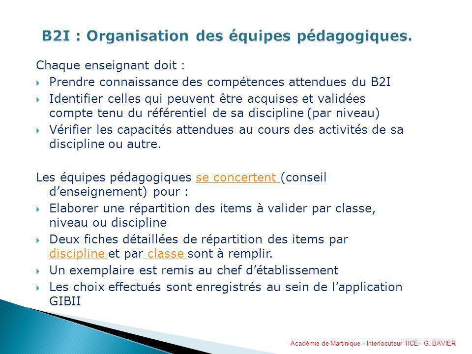 Chaque enseignant doit : Prendre connaissance des compétences attendues du B2I Identifier celles qui peuvent être acquises et validées compte tenu du
