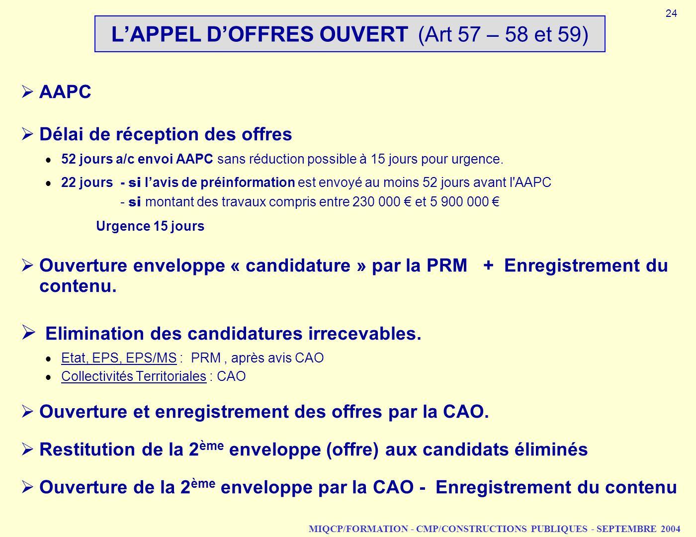 MIQCP/FORMATION - CMP/CONSTRUCTIONS PUBLIQUES - SEPTEMBRE 2004 LAPPEL DOFFRES OUVERT (Art 57 – 58 et 59) AAPC Délai de réception des offres 52 jours a