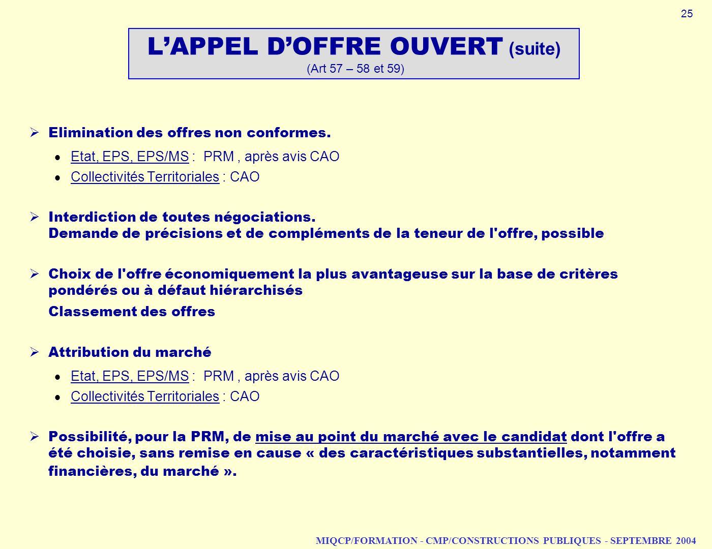 MIQCP/FORMATION - CMP/CONSTRUCTIONS PUBLIQUES - SEPTEMBRE 2004 LAPPEL DOFFRE OUVERT (suite) (Art 57 – 58 et 59) Elimination des offres non conformes.