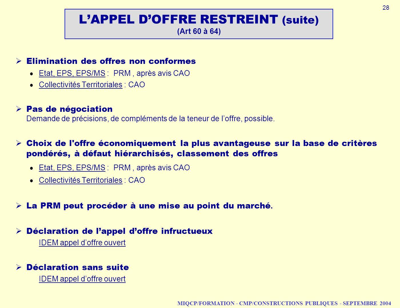 MIQCP/FORMATION - CMP/CONSTRUCTIONS PUBLIQUES - SEPTEMBRE 2004 Elimination des offres non conformes Etat, EPS, EPS/MS : PRM, après avis CAO Collectivi