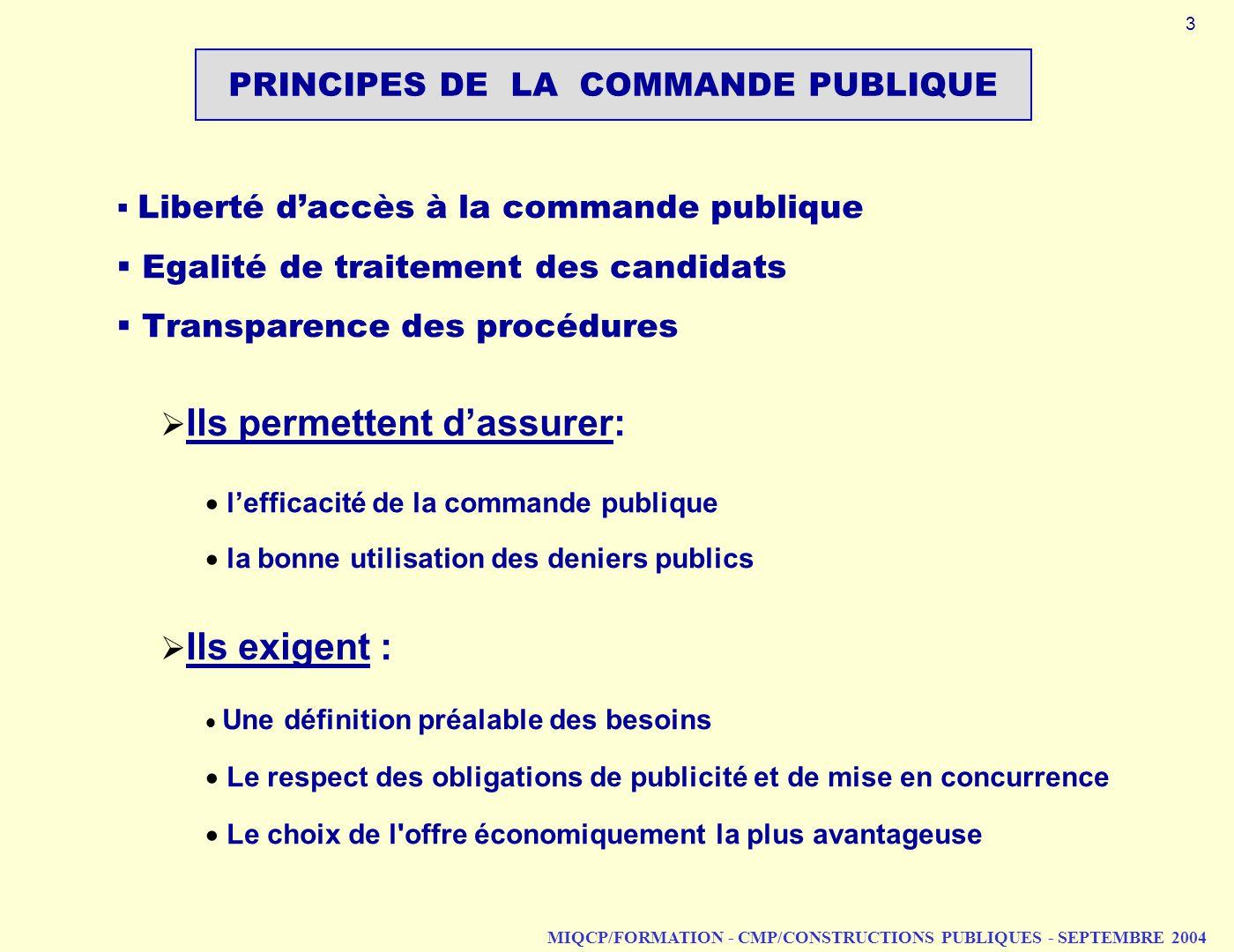 MIQCP/FORMATION - CMP/CONSTRUCTIONS PUBLIQUES - SEPTEMBRE 2004 PRINCIPES DE LA COMMANDE PUBLIQUE Liberté daccès à la commande publique Egalité de trai