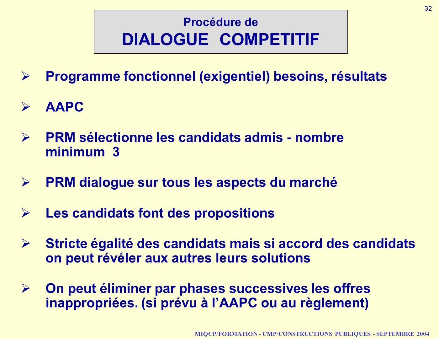 MIQCP/FORMATION - CMP/CONSTRUCTIONS PUBLIQUES - SEPTEMBRE 2004 Procédure de DIALOGUE COMPETITIF Programme fonctionnel (exigentiel) besoins, résultats