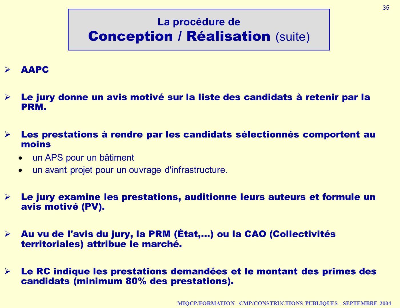 MIQCP/FORMATION - CMP/CONSTRUCTIONS PUBLIQUES - SEPTEMBRE 2004 AAPC Le jury donne un avis motivé sur la liste des candidats à retenir par la PRM. Les