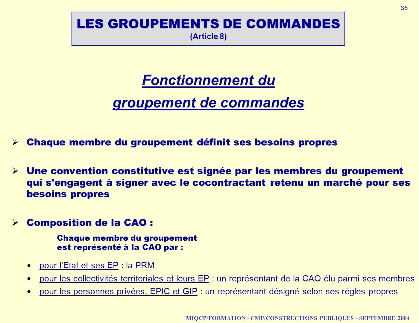 MIQCP/FORMATION - CMP/CONSTRUCTIONS PUBLIQUES - SEPTEMBRE 2004 Fonctionnement du groupement de commandes Chaque membre du groupement définit ses besoi