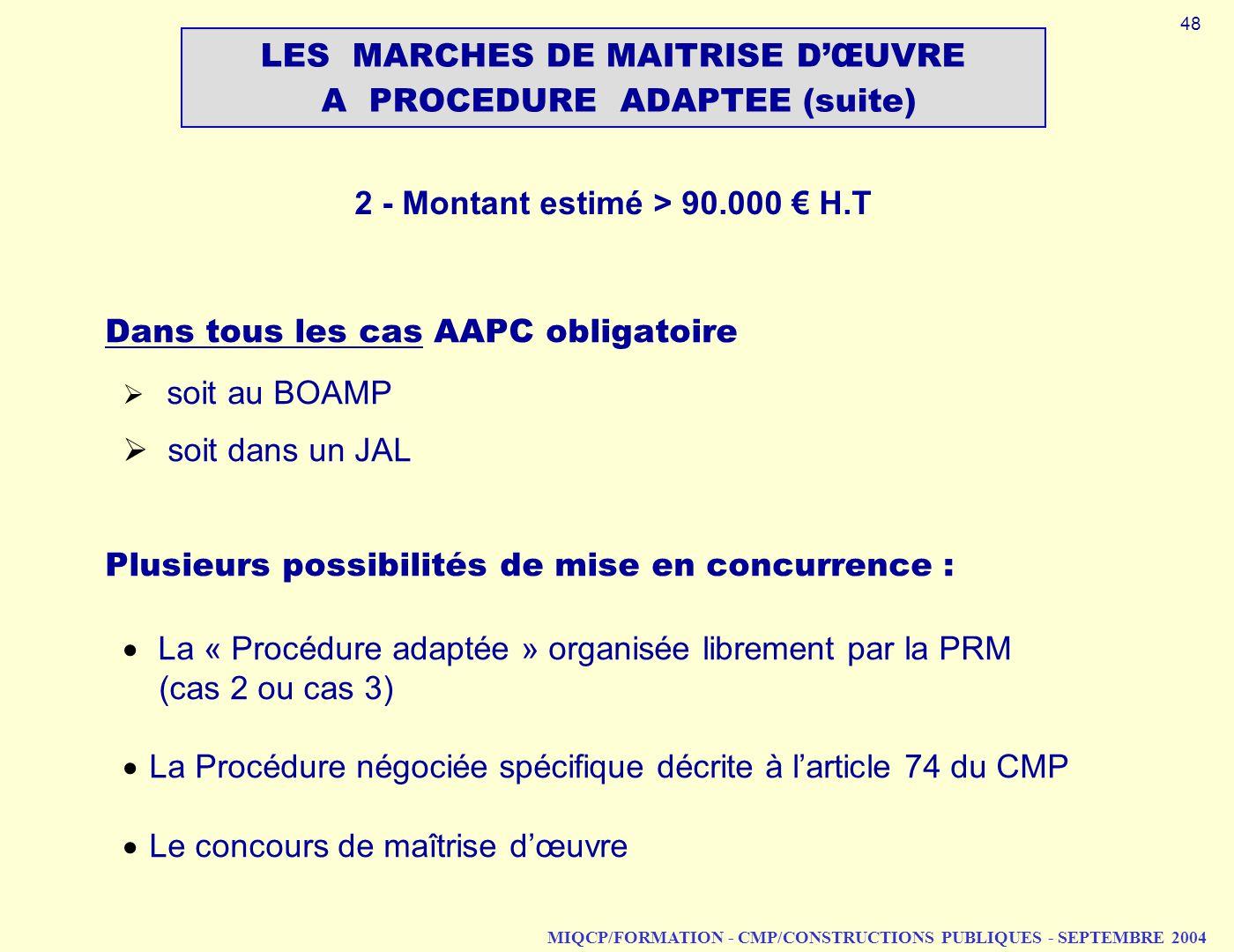 MIQCP/FORMATION - CMP/CONSTRUCTIONS PUBLIQUES - SEPTEMBRE 2004 Dans tous les cas AAPC obligatoire soit au BOAMP soit dans un JAL Plusieurs possibilité