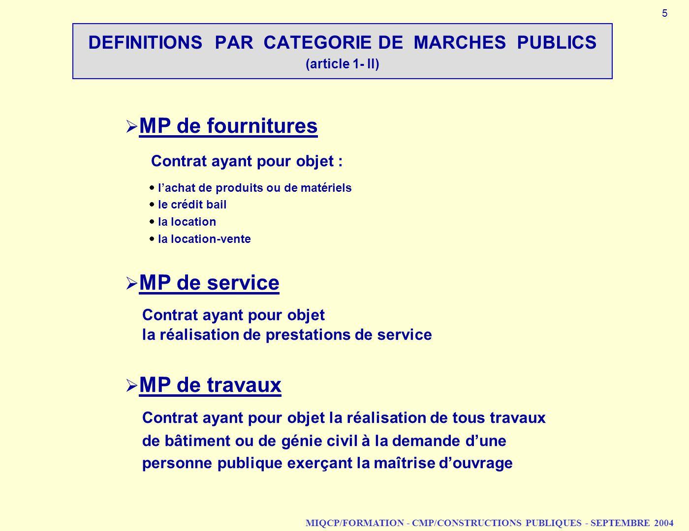 MIQCP/FORMATION - CMP/CONSTRUCTIONS PUBLIQUES - SEPTEMBRE 2004 DEFINITIONS PAR CATEGORIE DE MARCHES PUBLICS (article 1 II) MP de fournitures Contrat a