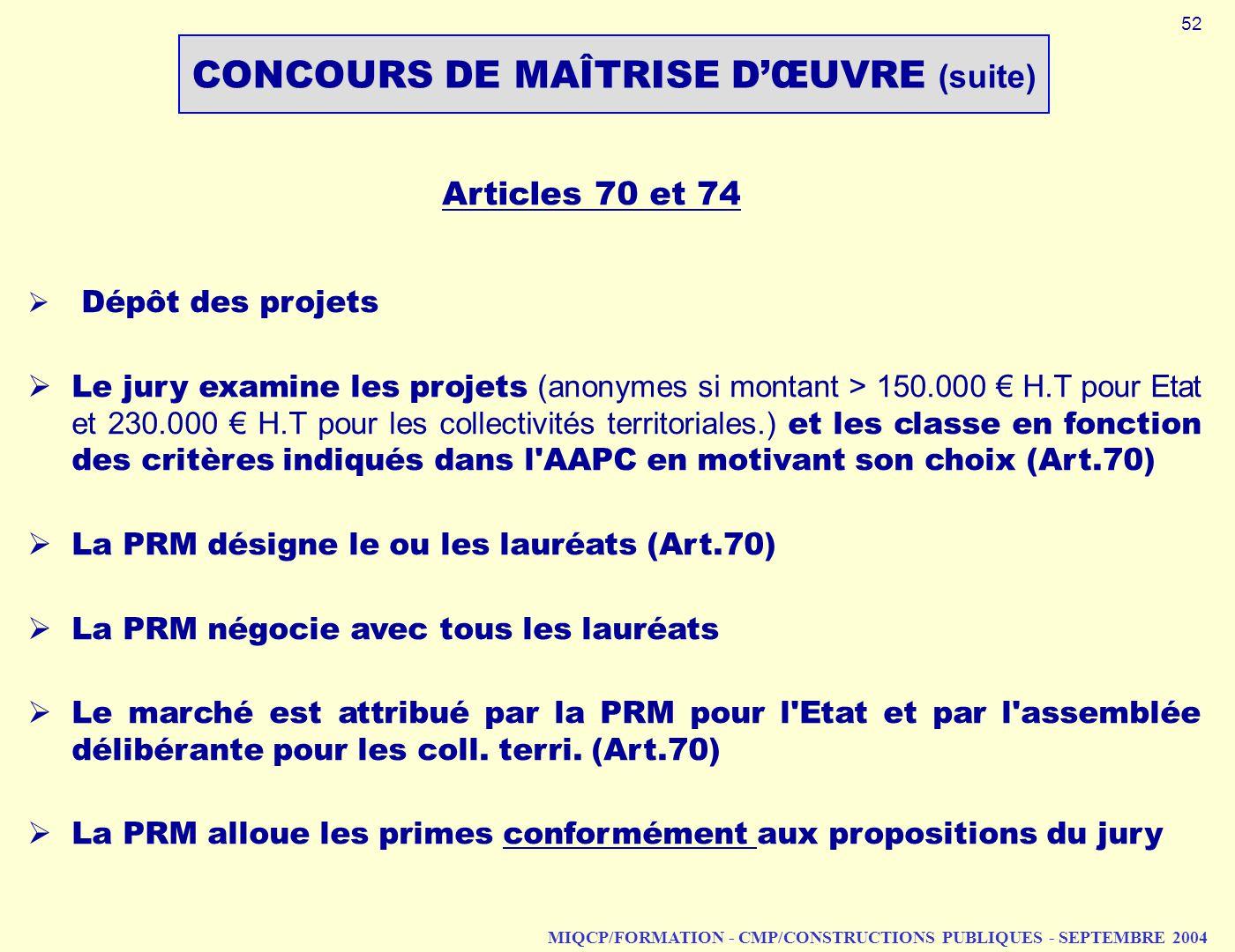 MIQCP/FORMATION - CMP/CONSTRUCTIONS PUBLIQUES - SEPTEMBRE 2004 Articles 70 et 74 Dépôt des projets Le jury examine les projets (anonymes si montant >