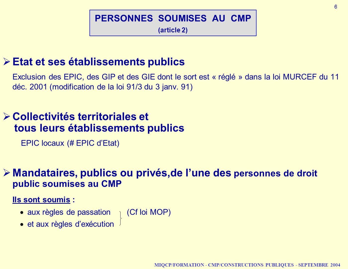 MIQCP/FORMATION - CMP/CONSTRUCTIONS PUBLIQUES - SEPTEMBRE 2004 PERSONNES SOUMISES AU CMP (article 2) Etat et ses établissements publics Exclusion des
