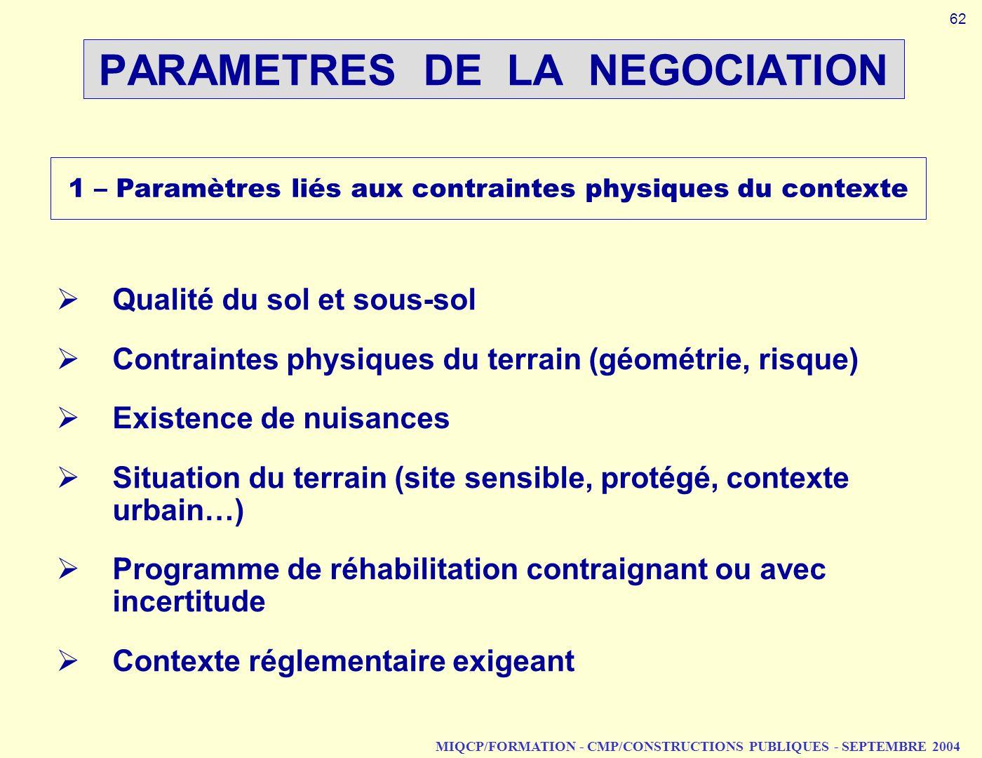 MIQCP/FORMATION - CMP/CONSTRUCTIONS PUBLIQUES - SEPTEMBRE 2004 PARAMETRES DE LA NEGOCIATION 1 – Paramètres liés aux contraintes physiques du contexte
