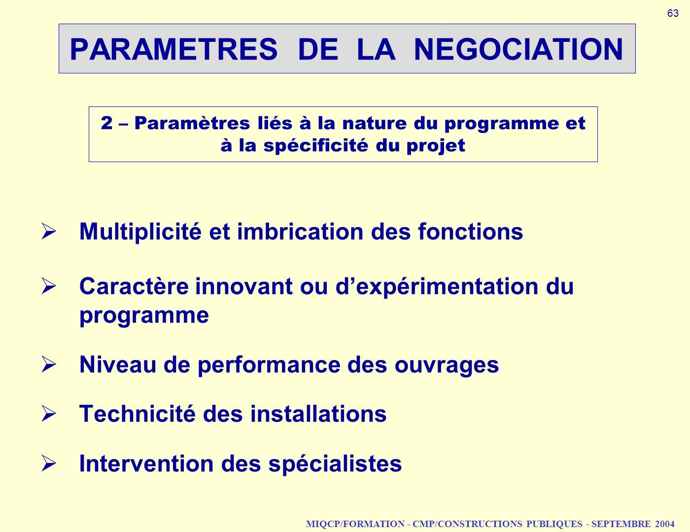 MIQCP/FORMATION - CMP/CONSTRUCTIONS PUBLIQUES - SEPTEMBRE 2004 PARAMETRES DE LA NEGOCIATION 2 – Paramètres liés à la nature du programme et à la spéci