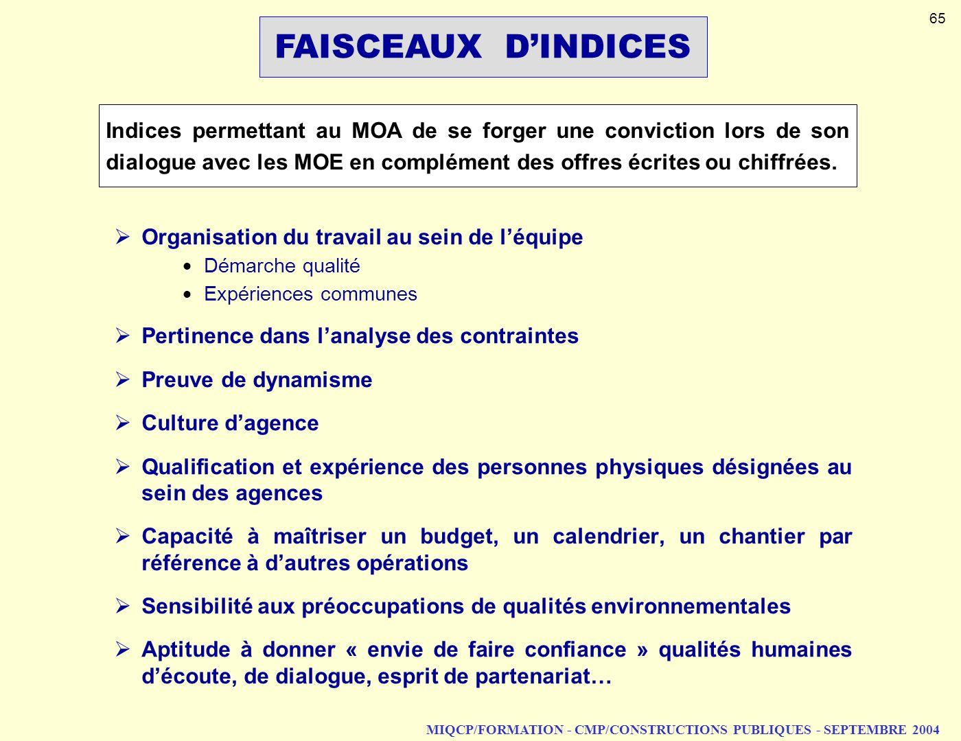 MIQCP/FORMATION - CMP/CONSTRUCTIONS PUBLIQUES - SEPTEMBRE 2004 FAISCEAUX DINDICES Indices permettant au MOA de se forger une conviction lors de son di