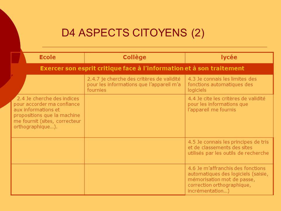 D4 ASPECTS CITOYENS (2) EcoleCollègelycée Exercer son esprit critique face à linformation et à son traitement 2.4.7 je cherche des critères de validit