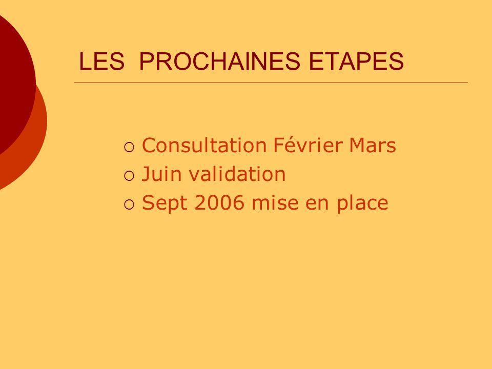 LES PROCHAINES ETAPES Consultation Février Mars Juin validation Sept 2006 mise en place