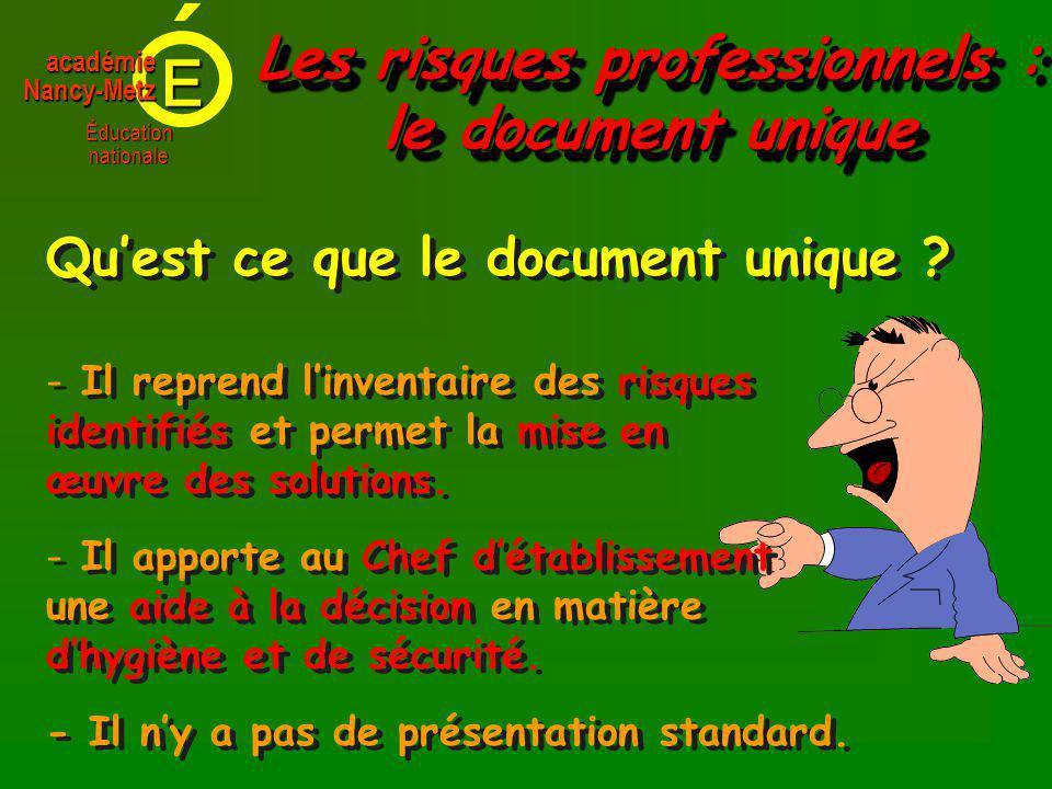 E Éducationnationale académieNancy-Metz - - Il reprend linventaire des risques identifiés et permet la mise en œuvre des solutions.