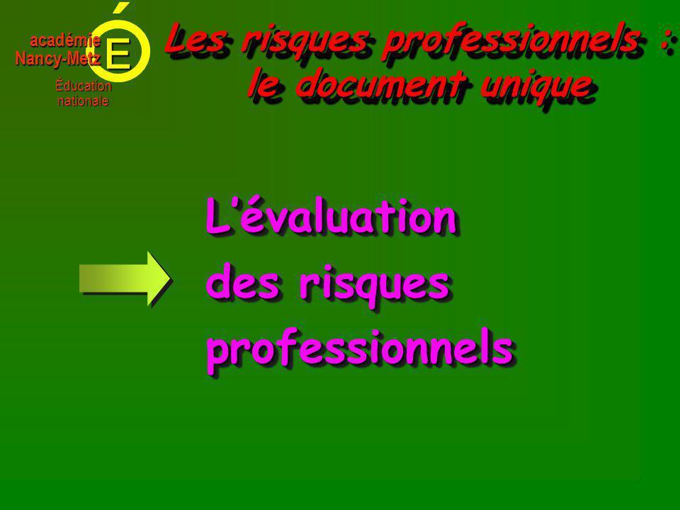 E Éducationnationale académieNancy-Metz Lévaluation des risques professionnelsLévaluation professionnels