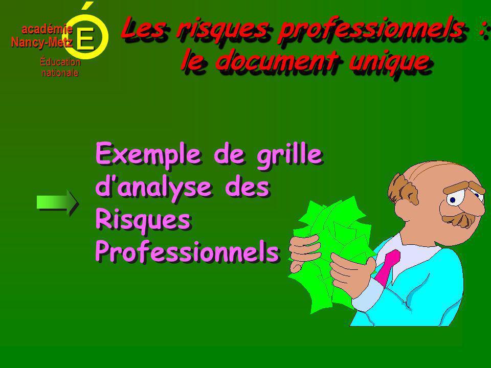 E Éducationnationale académieNancy-Metz Exemple de grille danalyse des Risques Professionnels Exemple de grille danalyse des Risques Professionnels Les risques professionnels : le document unique