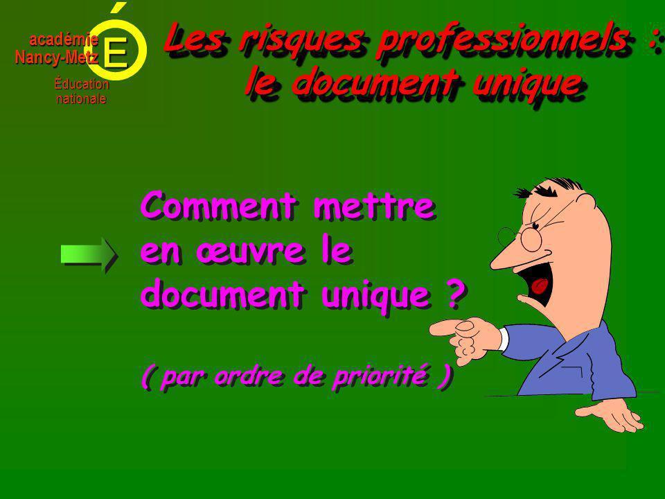 E Éducationnationale académieNancy-Metz Comment mettre en œuvre le document unique .