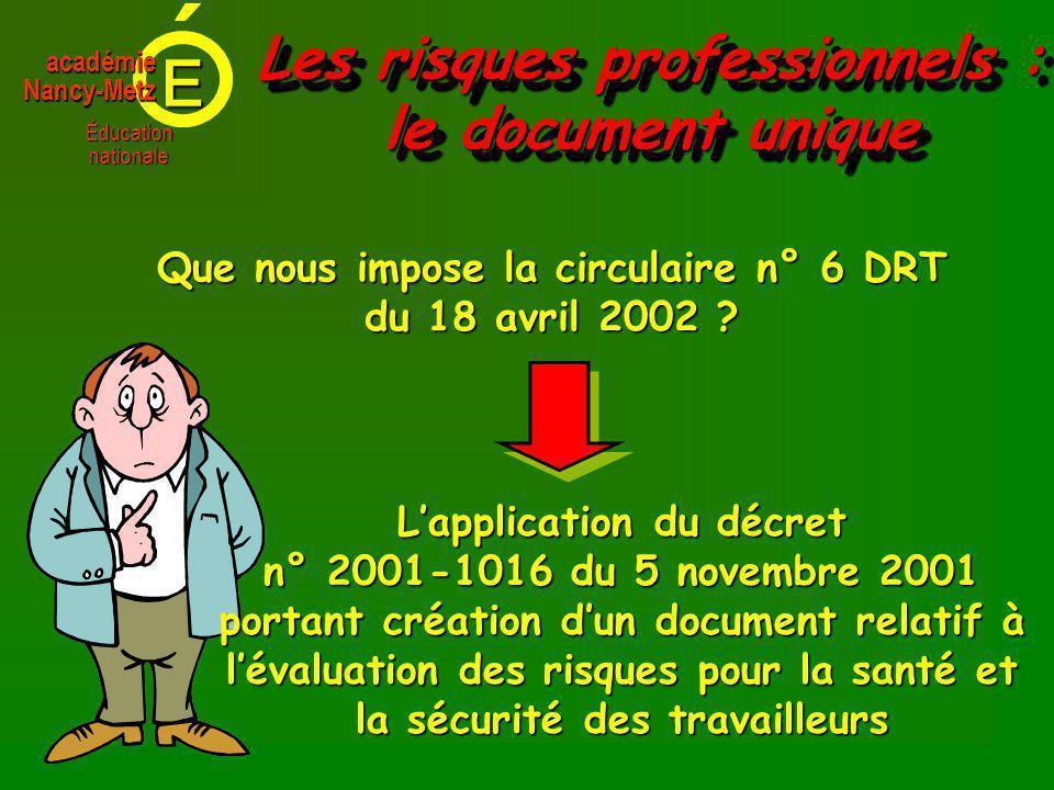 E Éducationnationale académieNancy-Metz Les risques professionnels : le document unique Que nous impose la circulaire n° 6 DRT du 18 avril 2002 .