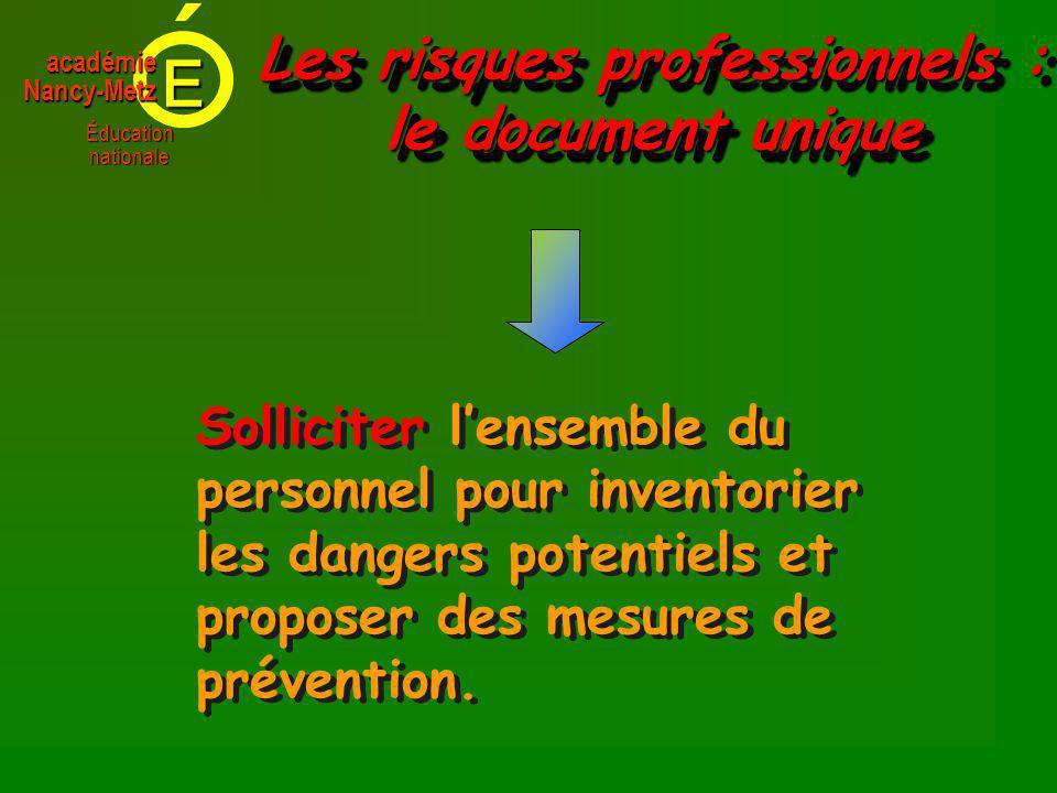 E Éducationnationale académieNancy-Metz Solliciter lensemble du personnel pour inventorier les dangers potentiels et proposer des mesures de prévention.