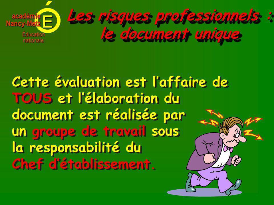 E Éducationnationale académieNancy-Metz Cette évaluation est laffaire de TOUS et lélaboration du document est réalisée par un groupe de travail sous la responsabilité du Chef détablissement.