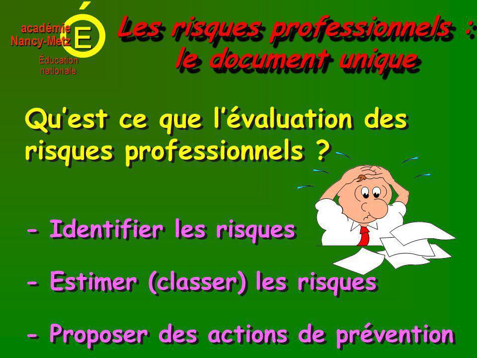 E Éducationnationale académieNancy-Metz - Identifier les risques Quest ce que lévaluation des risques professionnels .