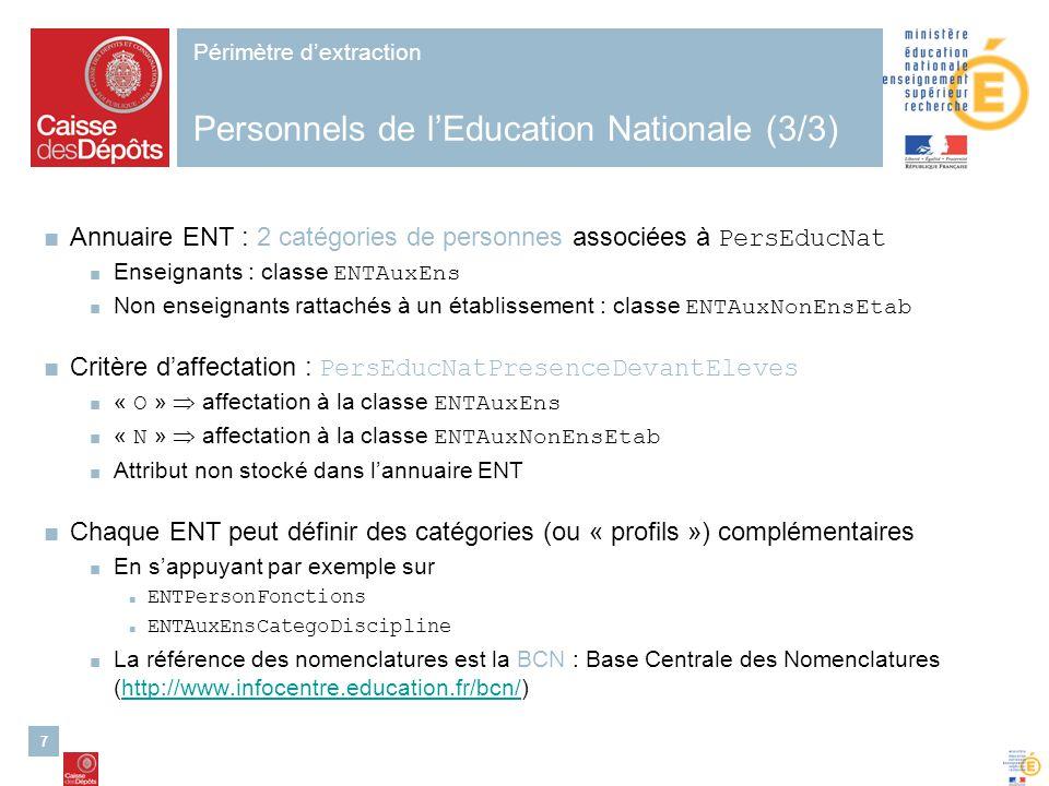7 Périmètre dextraction Personnels de lEducation Nationale (3/3) Annuaire ENT : 2 catégories de personnes associées à PersEducNat Enseignants : classe