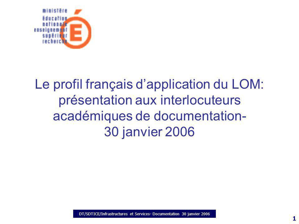 DT/SDTICE/Infrastructures et Services- Documentation 30 janvier 2006 1 Le profil français dapplication du LOM: présentation aux interlocuteurs académiques de documentation- 30 janvier 2006