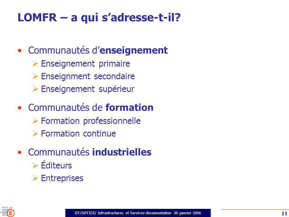 DT/SDTICE/ Infrastructures et Services-documentation 30 janvier 2006 11 LOMFR – a qui sadresse-t-il.