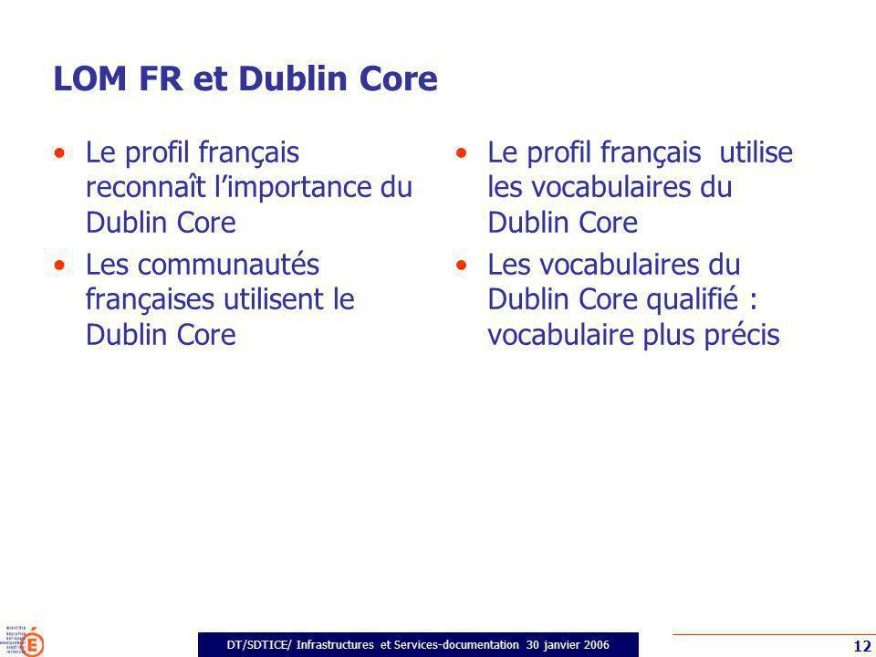 DT/SDTICE/ Infrastructures et Services-documentation 30 janvier 2006 12 LOM FR et Dublin Core Le profil français reconnaît limportance du Dublin Core Les communautés françaises utilisent le Dublin Core Le profil français utilise les vocabulaires du Dublin Core Les vocabulaires du Dublin Core qualifié : vocabulaire plus précis